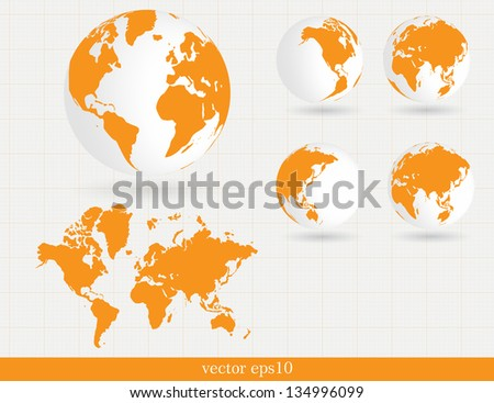 World map. Vector - stock vector