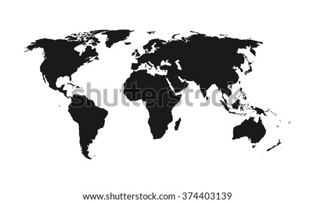 World map. Vector. Black and white. - stock vector