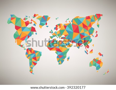 World map vector cool abstract colorful stock vector 392320177 world map vector cool abstract colorful stylized world map background in polygonal style gumiabroncs Gallery