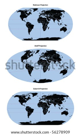 World map vector different projection - stock vector