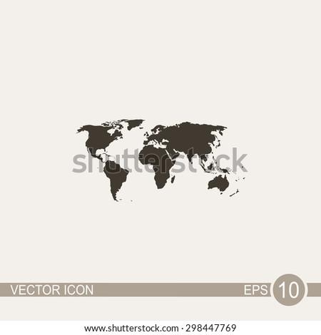 World map vector icon. - stock vector