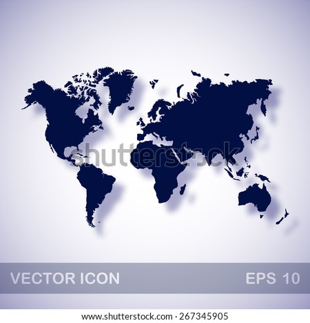 World map vector icon - dark blue illustration with blue shadow - stock vector