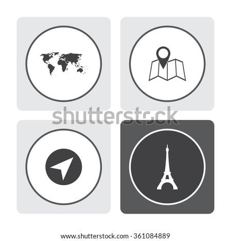 World map vector icon. Pin on the map vector icon. Navigator vector icon. Eiffel tower in Paris vector icon. - stock vector