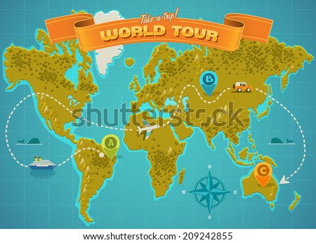 World map. Vector illustration. - stock vector
