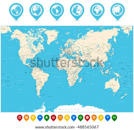 World map with cities and countries image collections world maps world map vector illustration map pointers stock vector detailed world map with countries and cities gumiabroncs Gallery