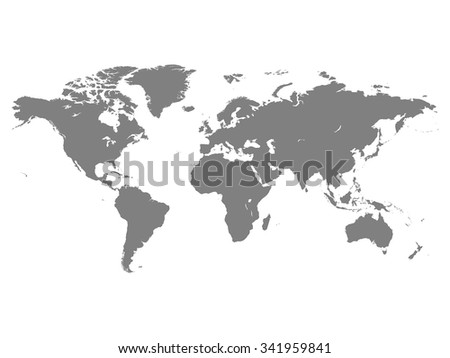 World map vector illustration isolated on white background - stock vector