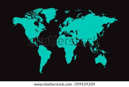 World map vector neon color - stock vector
