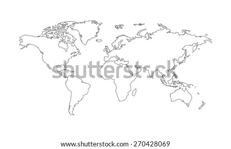 World map vector outline - stock vector
