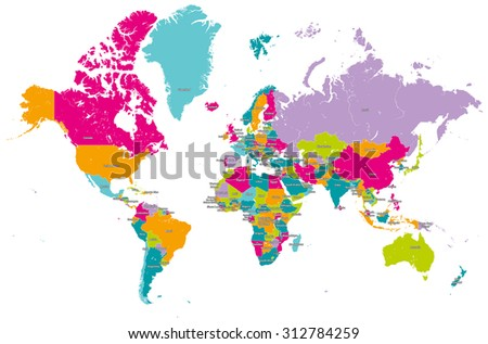 world map vector with countries - stock vector