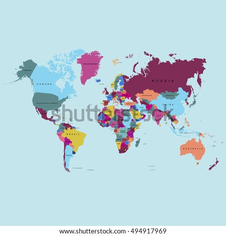World map vector with countries.