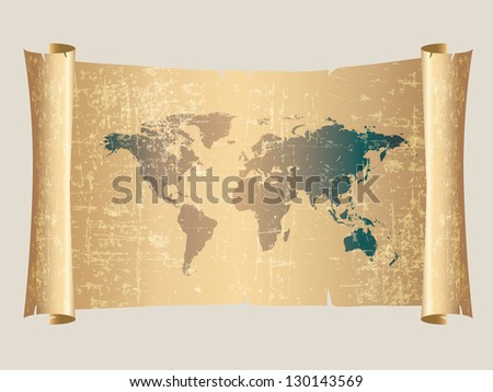 world map vintage style on scroll parchment - stock vector