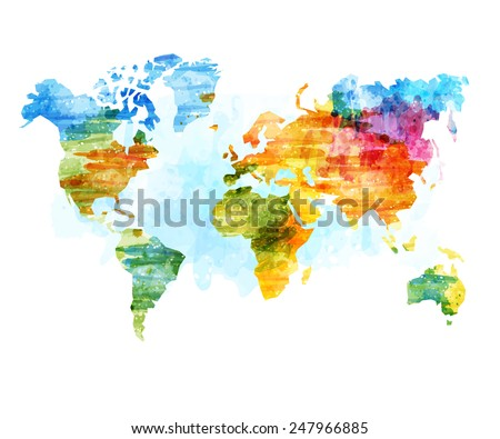 World Map Watercolor, Vector illustration. - stock vector