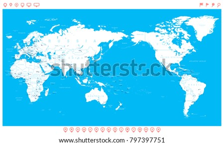 World map white blue asia center stock photo photo vector world map white blue asia in center vector gumiabroncs Images