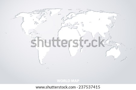 World Map. White paper silhouette with shadows on white background. - stock vector