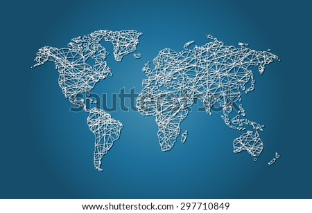 World Map Wire Mesh Vector - stock vector
