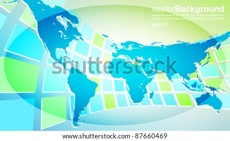 world map with abstract background - stock vector