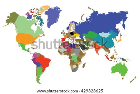 world map with all countries - stock vector