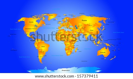 World Map With Country Names Stock Images RoyaltyFree Images - World map of all countries