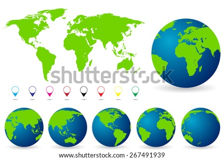 World Map with all Countries, set of Earth Globes vector illustration - stock vector