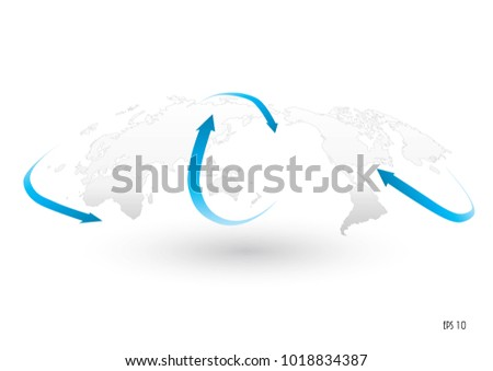 World map arrow flow concept global stock vector 1018834387 world map with arrow flow concept of global business global with arrow flow and movement gumiabroncs Gallery