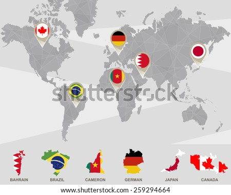 World map bahrain brazil cameron german stock vector 259294664 world map with bahrain brazil cameron german japan canada pointers gumiabroncs Images