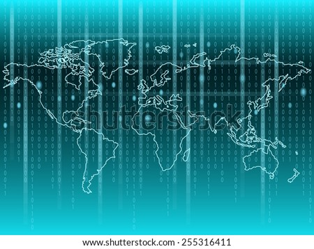 World Map with binary code - stock vector