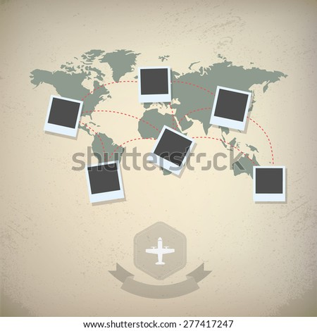 World map blank photo frames traveling stock vector 277417247 world map with blank photo frames traveling concept design vintage looks eps10 vector gumiabroncs Choice Image