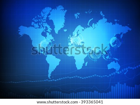 World map with business graph on blue background vector