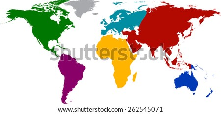 World map with colored continents. Vector illustration.  - stock vector