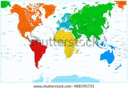 World map with colorful continents. Highly detailed illustration: countries, cities, grid, water objects.