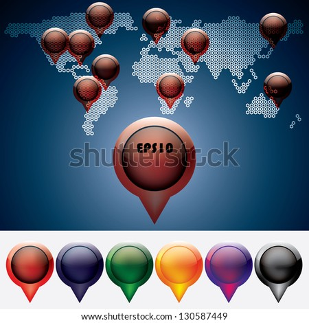 World Map With colorful Pins set - stock vector