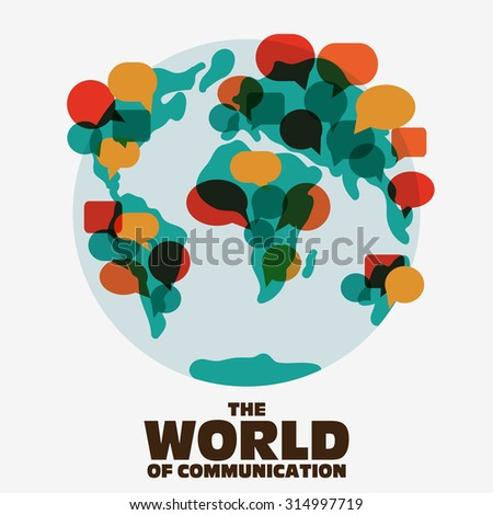 World map with colorful speech bubbles Translating, language interpreter and communication vector concept illustration. Flat design - stock vector