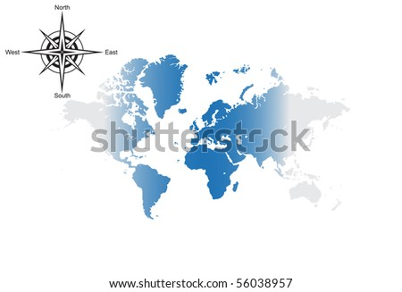 World map with compass - stock vector