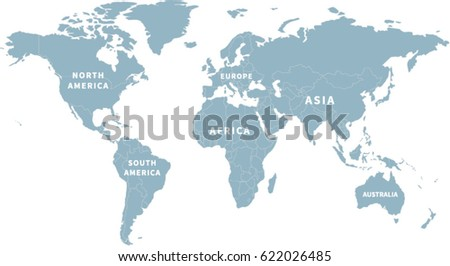 Detailed flat world map separated borders stock vector 670678180 world map with continent labels gumiabroncs Gallery