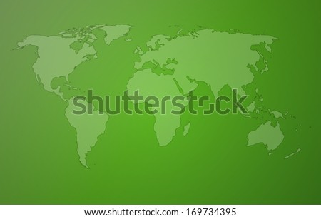 world map with continents on green background - stock vector