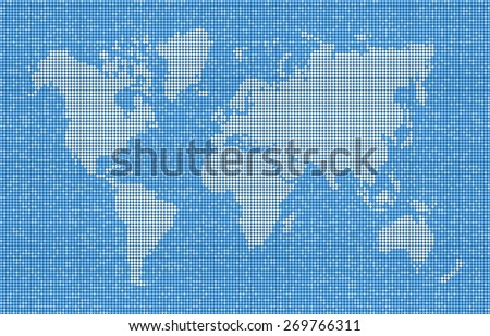 World map with continents, seas and oceans. Vector abstract map of dots  - stock vector
