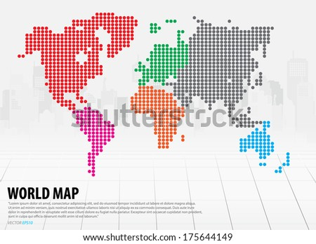 World map with continents. Vector illustration. - stock vector