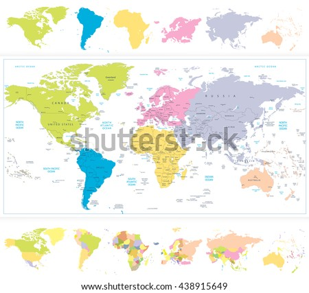 World Map with continnets in different colors isolated on white. All elements are separated in editable layers clearly labeled. - stock vector