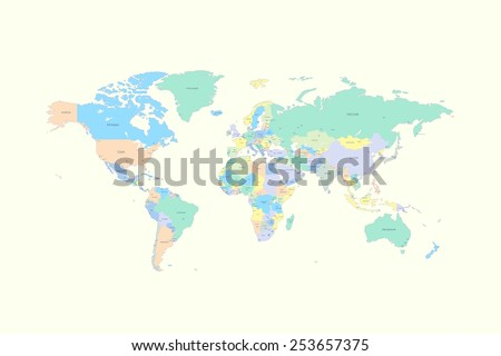 World map with countries and cities listed in Russian. Vector illustration. High Detail World map. All elements are separated in editable layers clearly labeled. Vector - stock vector