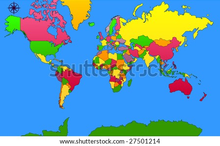 World map with countries and colors - stock vector