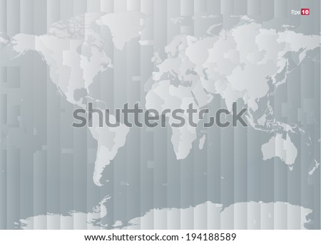World map with countries and timezones in editable vector format