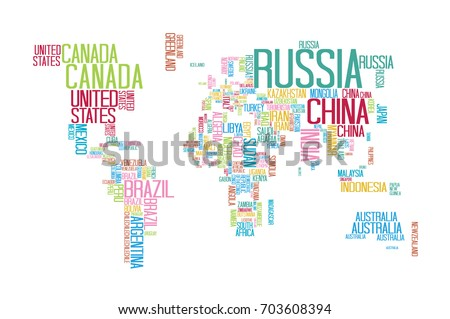 World Map Countries Name Text Typography Stock Vector - World map with country names