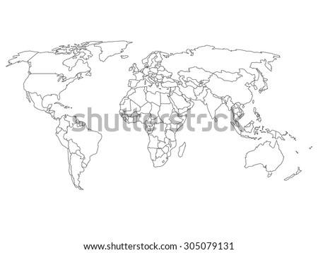 World map country borders thin black vector de stock305079131 world map with country borders thin black outline on white background gumiabroncs Images