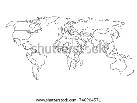 World map country borders thin black vectores en stock 740904571 world map with country borders thin black outline on white background gumiabroncs