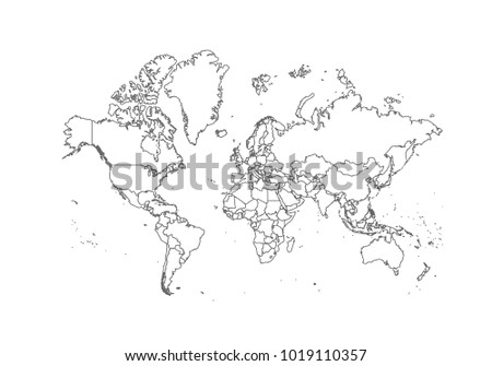 World map country borders thin black stock vector royalty free world map with country borders thin black outline on white background high detailed vector gumiabroncs Image collections