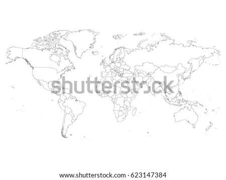 World map country borders thin black stock vector 623147384 world map with country borders thin black outline on white background simple high detail gumiabroncs Images
