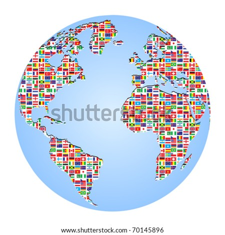 world map with country flags on it - stock vector