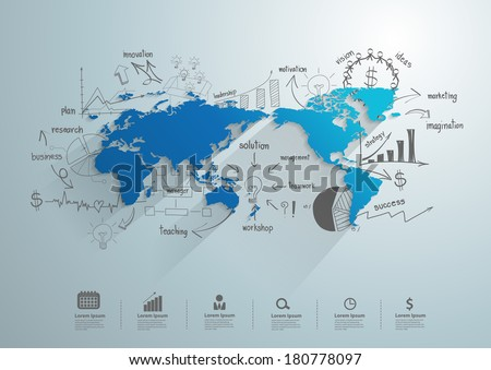 World map creative drawing chart graphs vector de stock180778097 world map with creative drawing chart and graphs business success strategy plan idea business world gumiabroncs Gallery