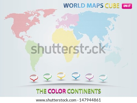 World map with cube / the color continents - stock vector
