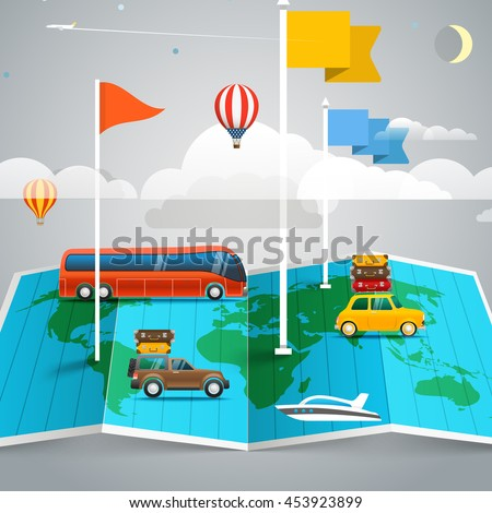 World map with different marks and transport. Design elements - stock vector